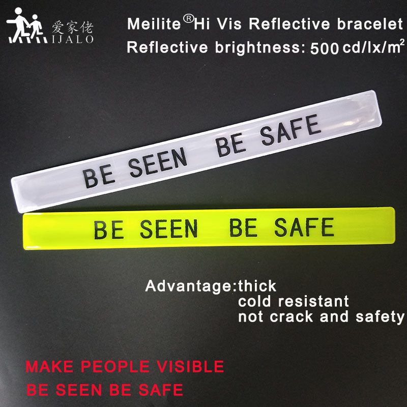 NEW Arrival 30CM MEILITE 500 candlelights  Reflective Wristband slap band bracelets armband for running riding safety visibility