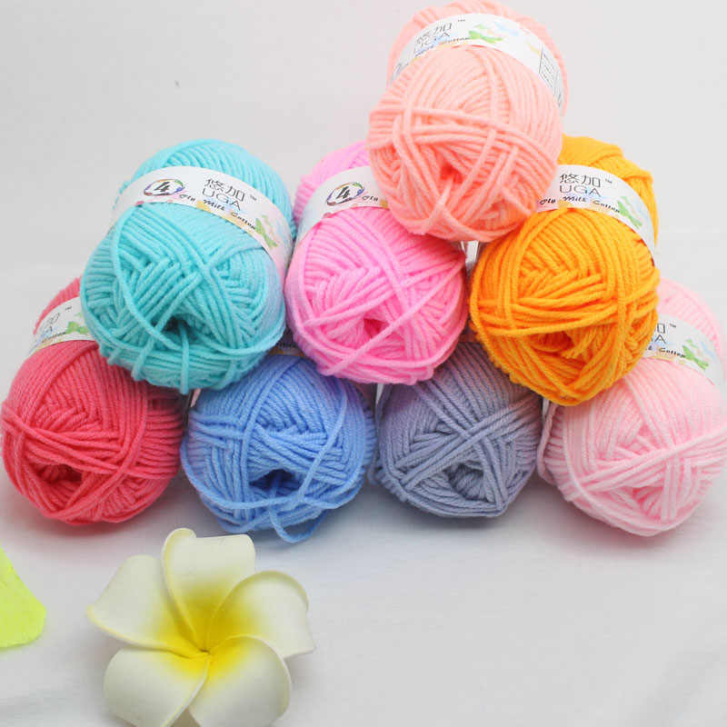 UGA 4 Ply Combed Lembut Susu Kapas Akrilik Dicampur Benang untuk Bayi Merajut Crochet Benang untuk DIY Sweater Kaus Kaki syal Hat