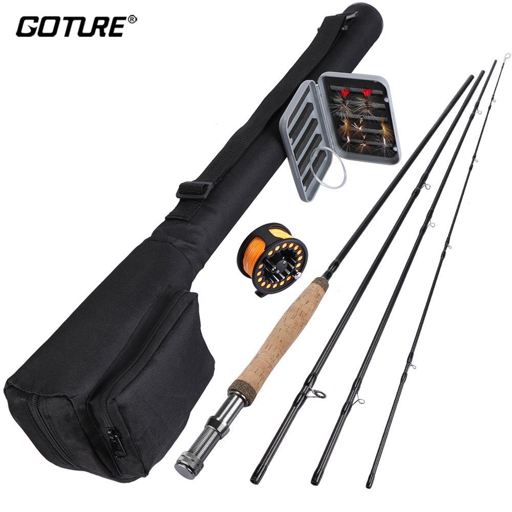 Goture 5/6 Fly Fishing Rod Combo Kit with Carry Bag Included Aluminum Fly Fishing Reel with Line Dry Flies Tapered Leader free shipping 5 6 4 segments sections fly fishing rod full metal reel water proof rod bag lines box lure set kit