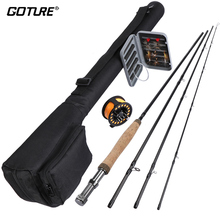 Goture 5/6 Fly Fishing Rod Combo Kit with Carry Bag Included Aluminum Fly Fishing Reel with Line Dry Flies Tapered Leader