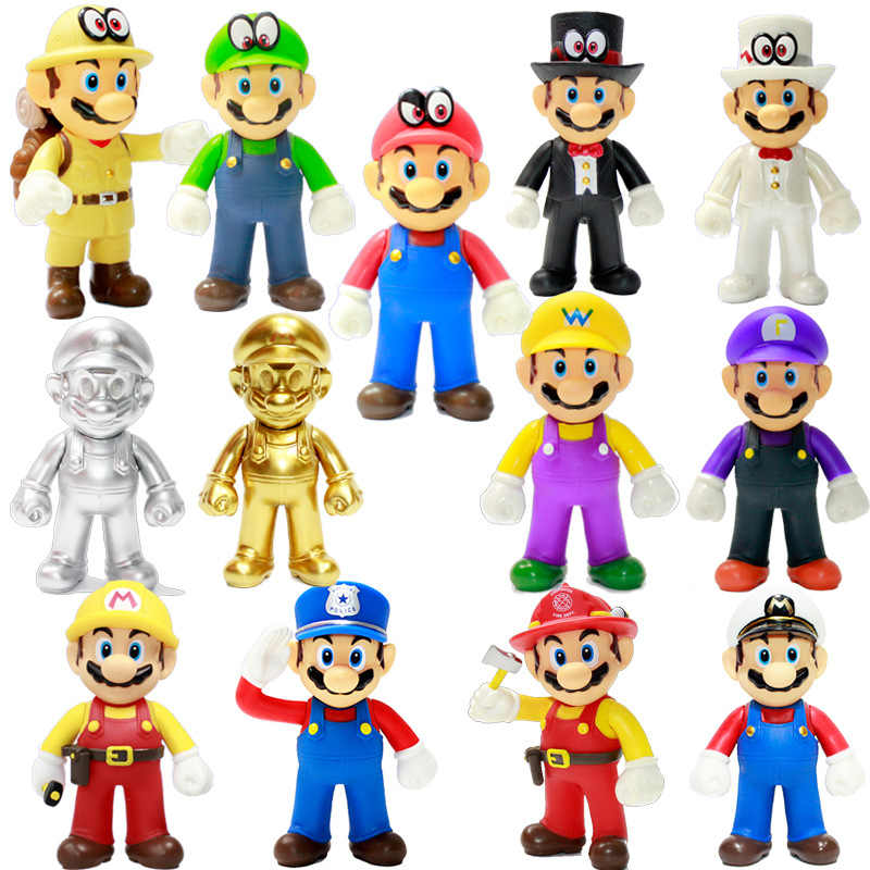 1 PC 9-15 Cm Super Mario Bros Cosplay Angka Luigi Yoshi Bowser Donkey Kong Peach Toad PVC Action patung Mainan Model Boneka