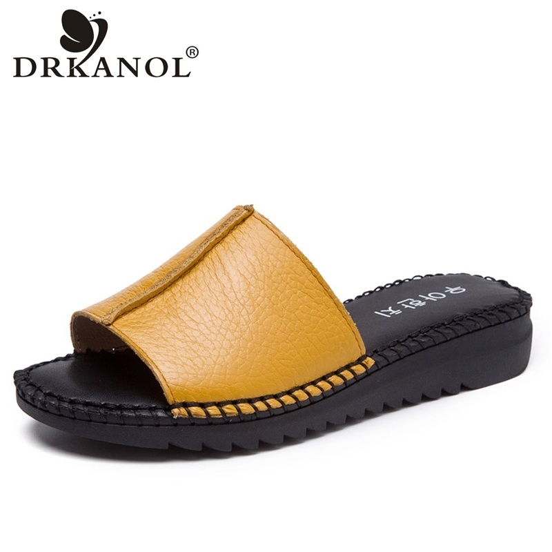 DRKANOL Handmade Sewing Genuine Leather Summer Women Slippers Open Toe Sandals Woman Shoes Flat Slippers Beach Flip Flops 2018 new high end leather comfortable feet sandals classic sandals handmade leather slippers handmade leather slippers