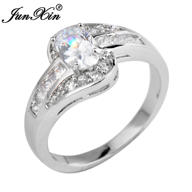 JUNXIN Female Oval Ring White Gold Filled Jewelry Vintage Wedding ...