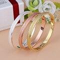 2016 Trendy Rose Gold Silver Bracelet for Women Bangle Lover Bracelet Jewelry Frosted Love Bracelet Bangle Pulseiras D0059