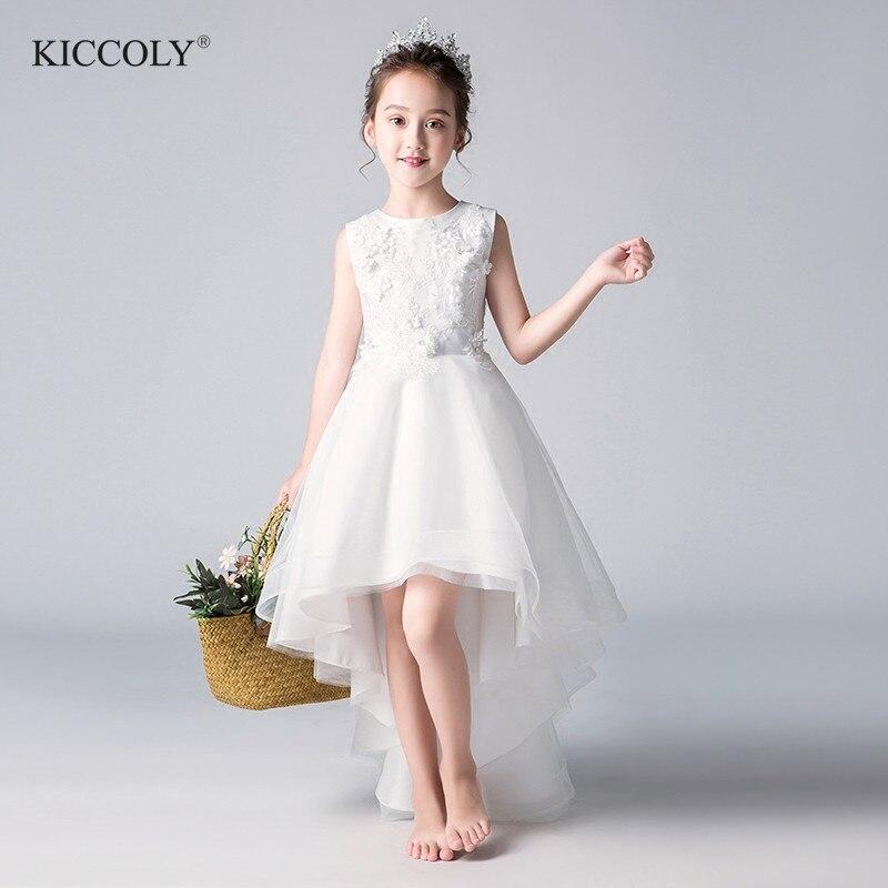 Elegant Floral Christmas Flower Girl Ceremony Dress White