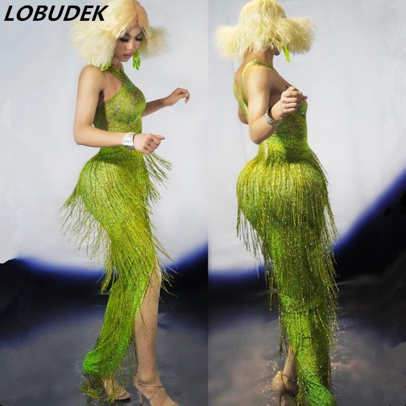 European Style Bar Party Nightclub Women Long Dress Grass Green Fringed Crystals Skinny Dress Tassels Long Dress Dance Outfit