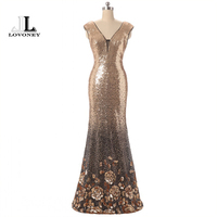 LOVONEY Sexy Backless Mermaid Evening Dress Long Sequins V Neck Formal Dress Evening Party Dresses Gown