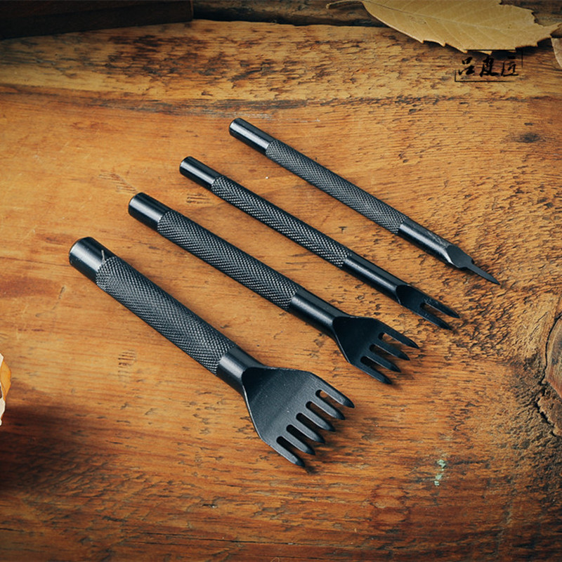 4pcs/set 1 Prong/2 Prong/4 Prong/ 6 Prong 4mm Leather Craft Tool Punches Lacing Stitching Working Chisel Handmade DIY