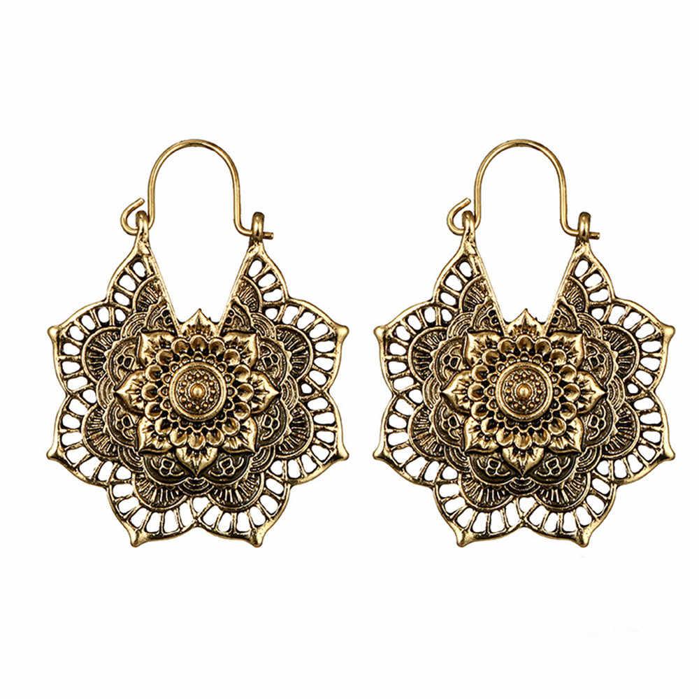 Antique silver Gypsy Tribal Indiano Mandala Cesta de flores A Céu Aberto Brincos Bohemia jóias Étnicas Hoop Dangle brinco fivela