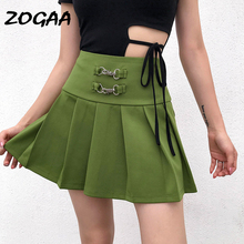 ZOGAA Harajuku Short Skirt New Korean Green Women Hoop Buckle High Waist School Girl Pleated Plaid Sexy Mini
