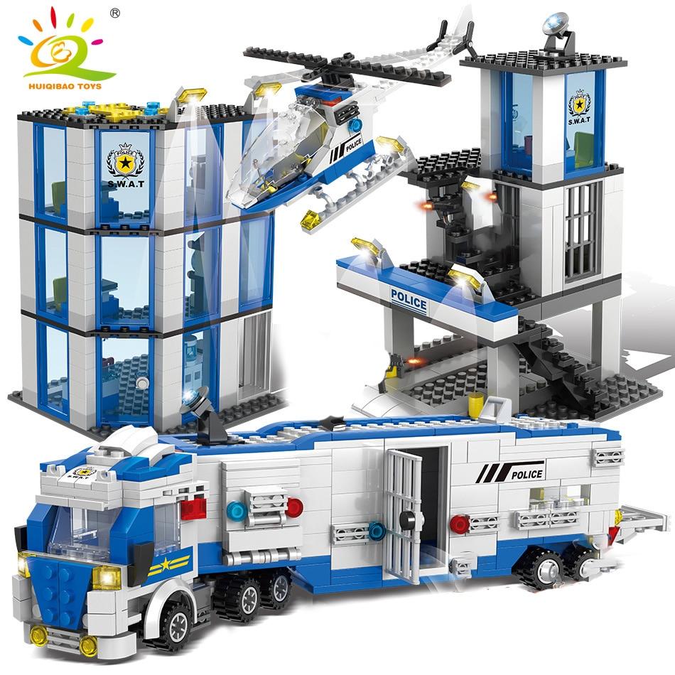 1002pcs Police Station Prison Building Blocks set City trucks Helicopter car policeman figures Model Bricks Toys