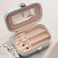 Assorted Colors PU Leather Portable Jewelry Earrings Rings Necklace Bracelet Hair Clip Storage Box Jewelery Case