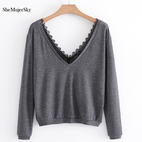 SheMujerSky Knitted Top T Shirt Women With Lace V Neck Female T Shirt Long Sleeve Tops