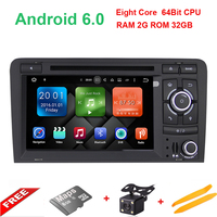 HD Car DVD Player2Din Steering Wheel For Audi A3 Multimedia Video Head Device Stereo Android 6