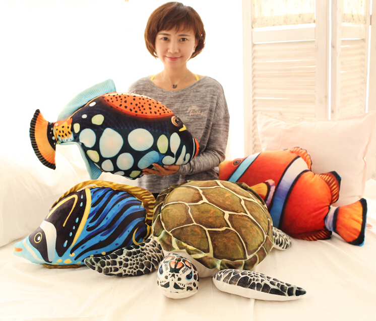 1pc 40cm underwater world grouper turtle clown fish tropical fish plush doll cushion wedding gift novelty girl stuffed toy warm plush detachable wash safety explosion proof hot water bottle plush turtle clown fish nemo