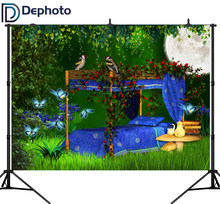 Dephoto Fairy Tale Jungle Trees bed Bird Book Flowers Baby birthday Photography Background Customized Backdrop For Photo Studio(China)