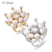 K's Gadgets Real Pearl Jewelry Natural Freshwater Pearl Flower Adjustable Ring Wedding Austrian Crystal Ring for Women Gift