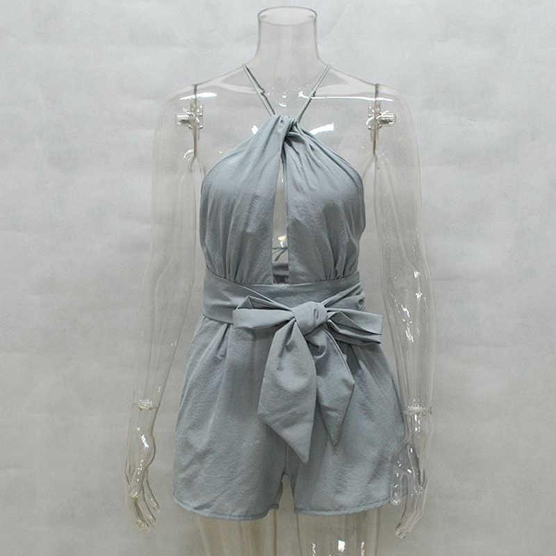Camisola sin espalda traje recortado Sexy Bodi Mujer Pantalones cortos Boho mono Vestido lazo verano Halter playa Resort Romper