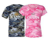 2017 Summer New KING QUEEN Crown Print Camouflage Round Neck Short Sleeve Couple T Shirt Men
