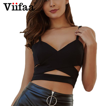 Viifaa Criss Cross Sexy Streetwear Black Crop Top Hollow Out Front Cropped Women Tops Bustier 2019 Summer Party Top Top