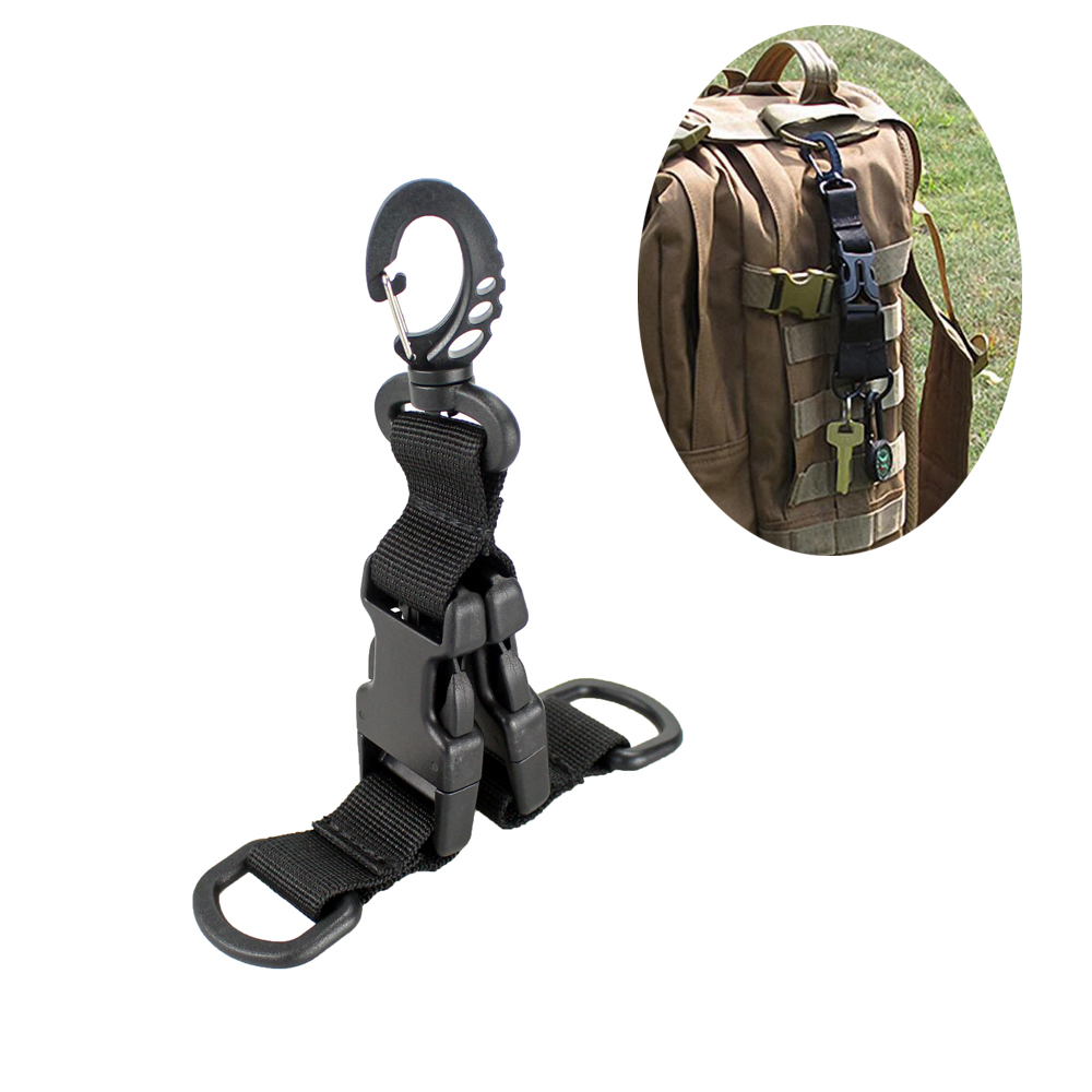 Molle Webbing Backpack Clips Nylon Ribbon Buckle Attach Belt Clip Kit Carabiner Strap Clasp D-Type Hanging Ring Keychain