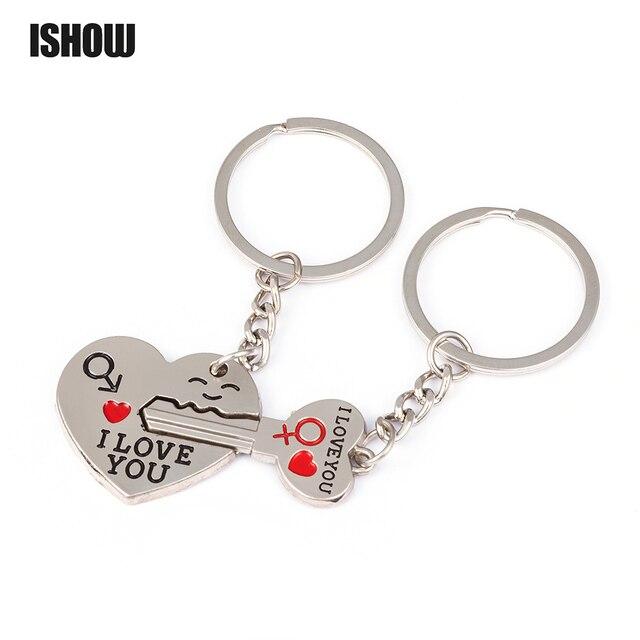 8f8f350db7 2pcs/set Couple Keychain Set Fashion Jewelry I LOVE YOU Heart Key Ring  Lover Romantic chaveiro Valentines Best Gift