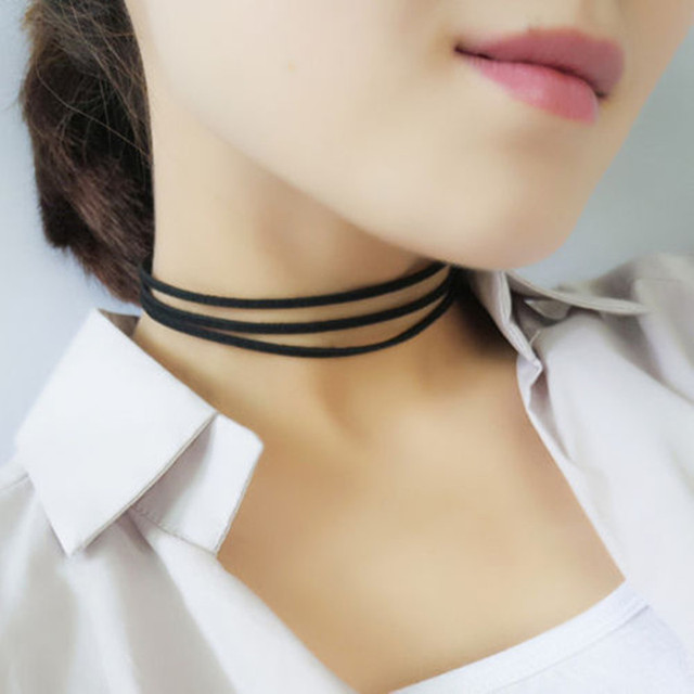 5a5d35ea87af3 US $1.99 |90s Gothic Punk Tattoo Choker Stretch Necklace Black Retro Henna  Elastic Boho Vintage Elastic Women Necklace Accessories-in Choker Necklaces  ...