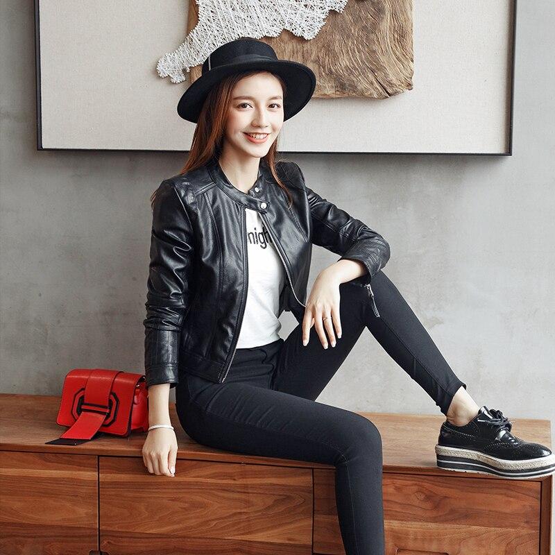 European Style Station Collar Black   Leather   Jacket Women New Fashion Motorcycle   Leather   Clothing Women Slim Pu Locomotive Jacket