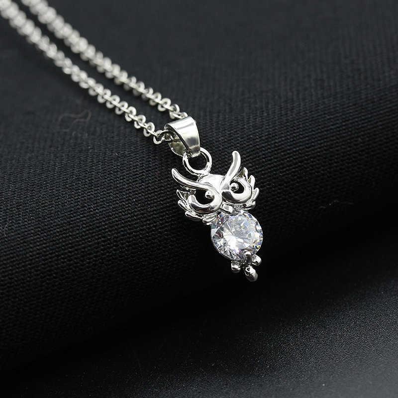 שרשרות קריסטל פתית שלג הולו לב קראון פרפר ינשוף תליוני שרשרת קולר קסם יהלומים מלאכותיים כסף תכשיטי נשים