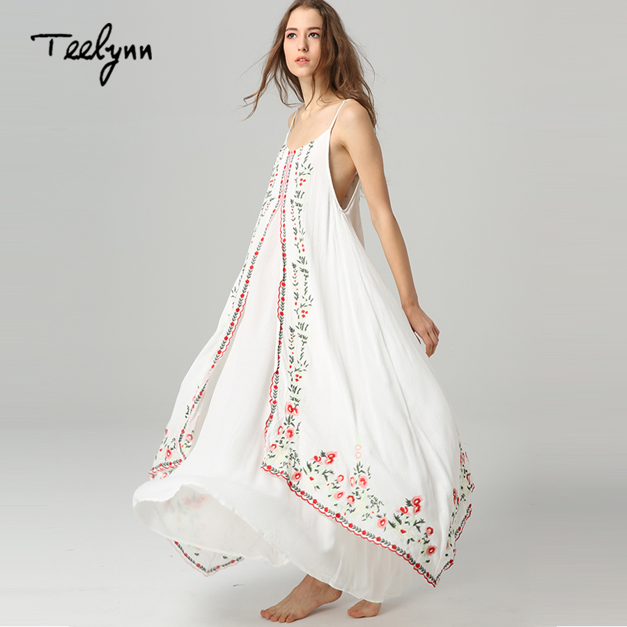 TEELYNN Maxi white boho dress Vintage floral embroidered sleeveless strap long Summer dresses beach wear women