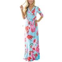 High Quality 2017 Three Quarter Maxi Dress Women Floor Length Boho Beach Party Floral Print Casual