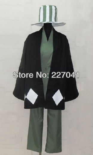 Bleach Anime Urahara Kisuke & Hat Costume Cosplay Halloween clothing