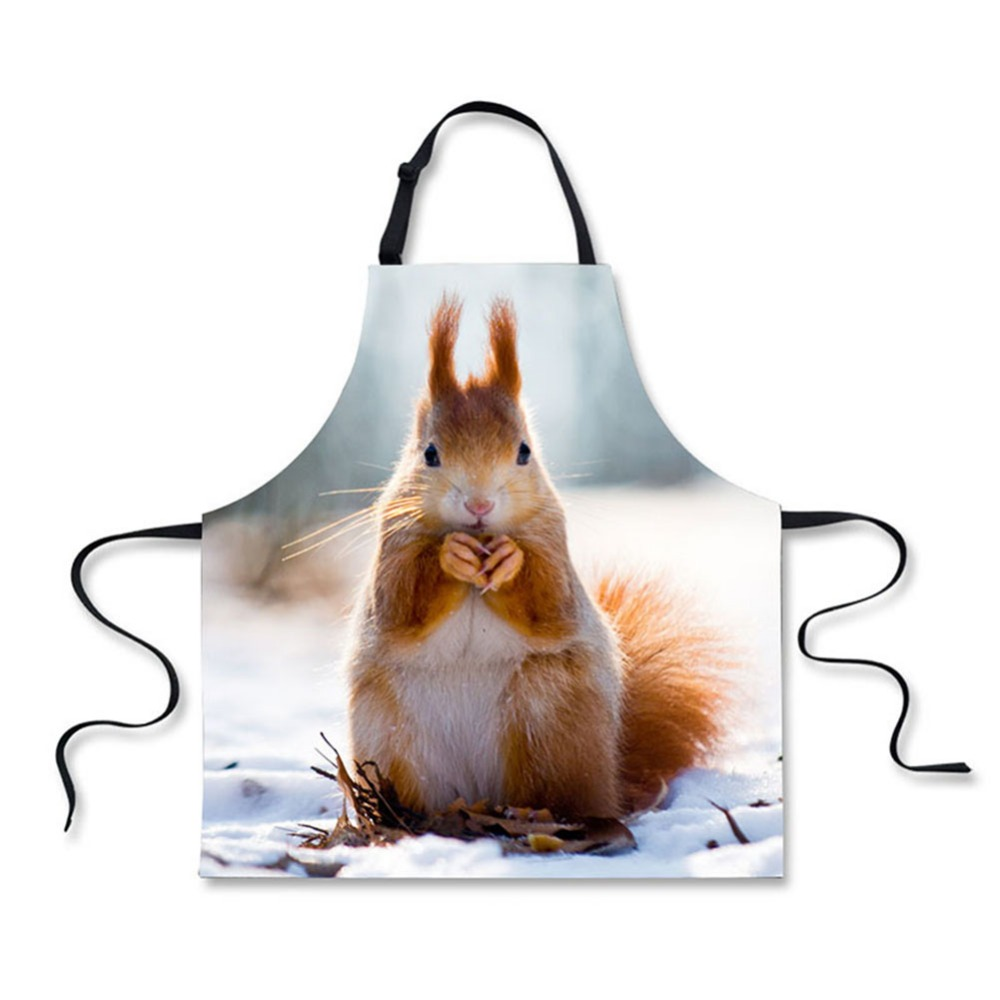 High Quality 3D Printing Squirrel Home Leisure Fashion Kitchen Aprons