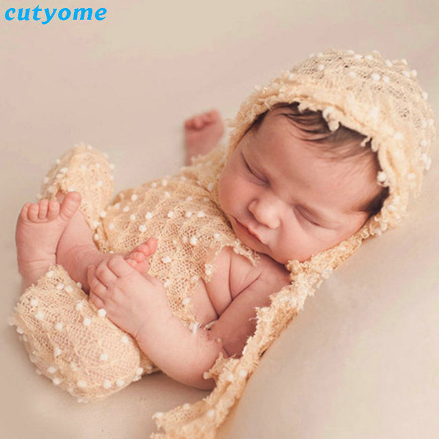 Cutyome newborn photography props boys girls lace rompers cap infant photo accessories fotografia props baby