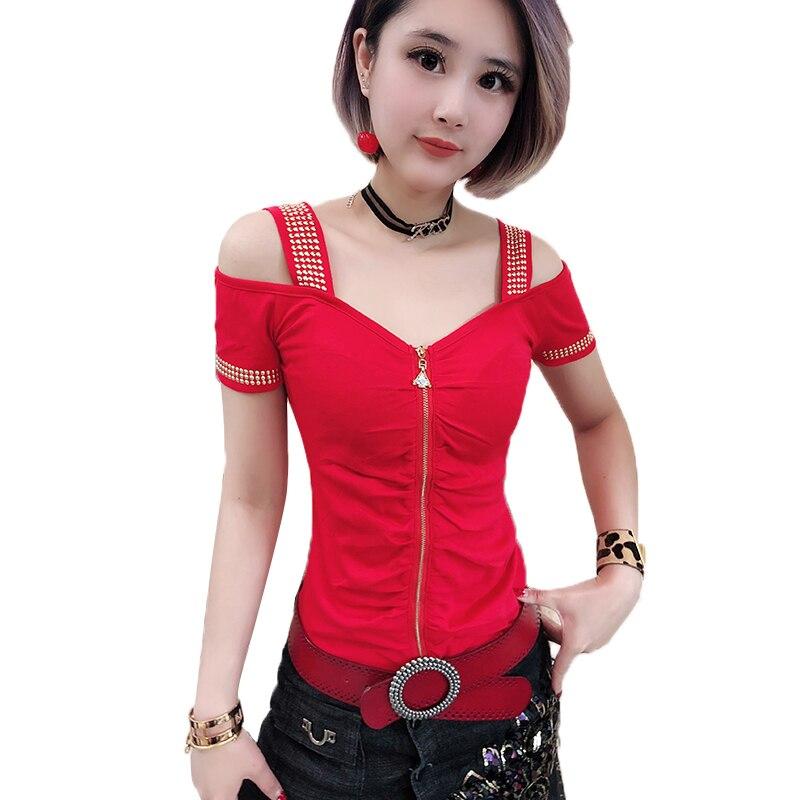 Sexy Off Shoulder Diamonds Zipper Tshirt 2019 Summer Women Hollow Out Asymmertrical Short Sleeve Top Shirt Clothes T94144L
