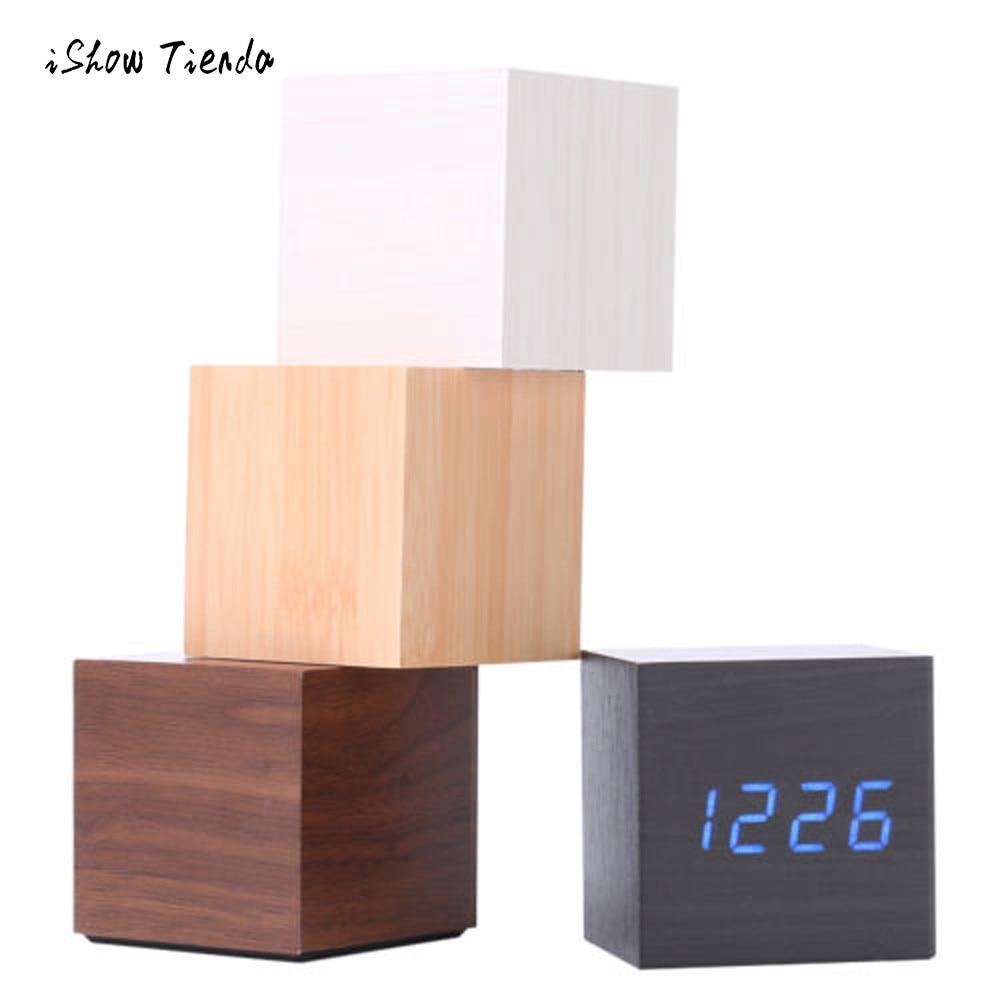 Multicolor Sounds Control Wooden Clock New Modern Wood Digital LED Desk Alarm Clock Thermometer Timer Calendar Table Decor