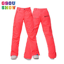 GSOU Снежный бренд женские лыжные штаны Водонепроницаемые штаны для сноуборда зимние уличные лыжные Сноубординг спортивные брюки женская зимняя одежда