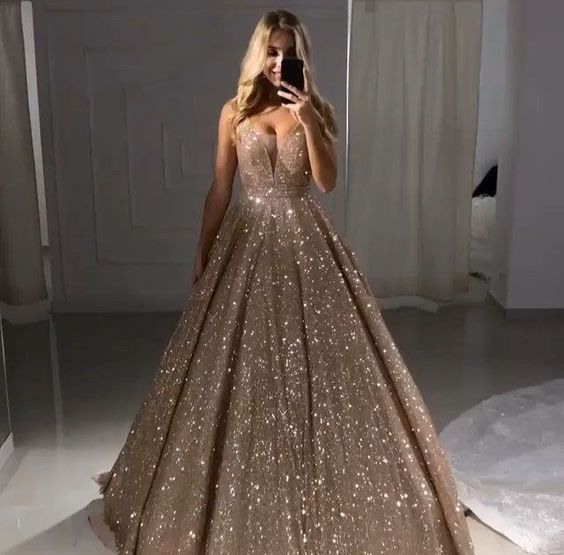 New Stunning BlingBling   Prom     Dresses   2019 V-neck Tulle Beaded Ball Gown Evening Party Gowns