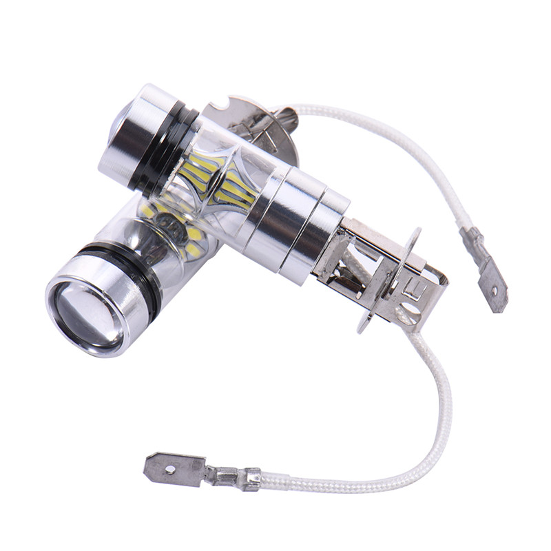 2Pcs Super Bright 20SMD H3 100W LED Fog Lights Auto High Power Headlamp Daytime Drivng Light Bulb Car 20LED Fog Lamp 6000K White high bright car headlights led bulb d33 h1 free canbus auto led white headlamp with yellow lights for vw jetta volkswagen golf 6