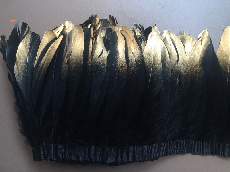 Gold Paint spray Goose feather trims 6meter Black color geese duck Feather fringes strips 13-18cm for Dress Skirt Party Clothing