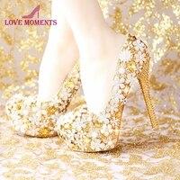 2018 модные удобные Свадебные туфли золотистого цвета женская обувь Платформа на высоких каблуках свадебные туфли со стразами ручной работы