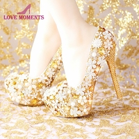 2018 Fashion Comfortable Gold Wedding Shoes Women Shoes Platform High Heels Rhinestone Bridal Shoes Handmade Genuine Leather