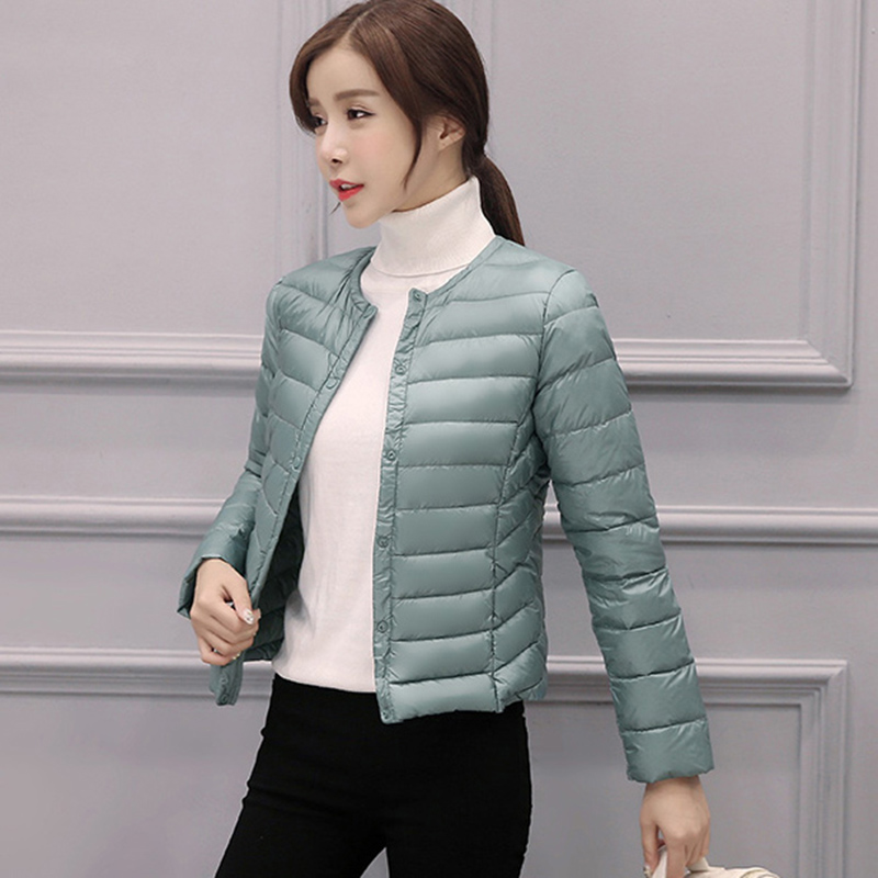 Spring Autumn Winter Korean Light Thin Short   Down   Jacket Female Slim Round Neck Warm Button White Duck   Down     Coats   0856