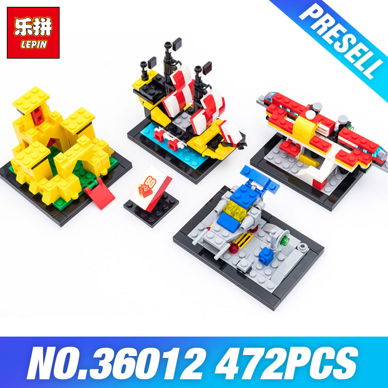 New LEPIN 36012 Creative Series 40290 60 Years of the Brick Set 4 in 1 Building Bricks Blocks DIY Kids Toys Model Children Gifts lepin 42010 590pcs creative series brick box legoingly sets building nano blocks diy bricks educational toys for kids gift