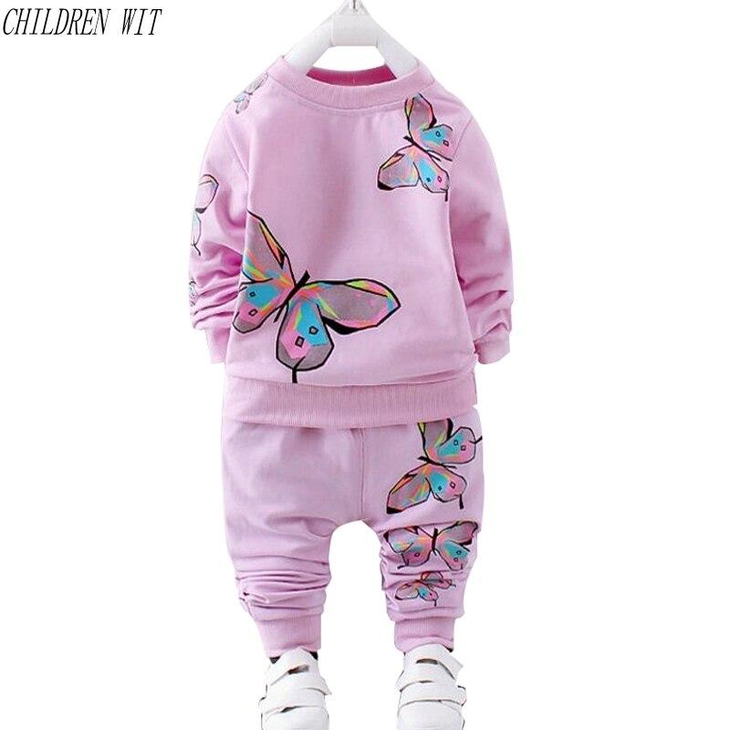 183f40faafbd Cheap Niños con primavera otoño niñas conjuntos de ropa 1 3 años niños ropa  algodón mariposa