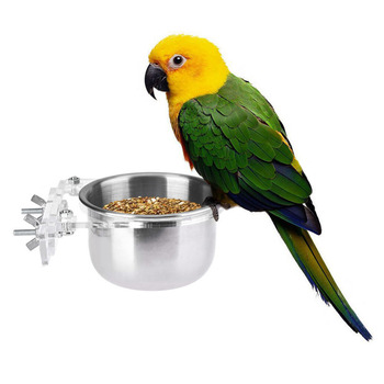 Birds Feeder Parrot Birds Hamsters Feeder Food Container Stainless Steel Cup Food Bowl Drinkers for Birds