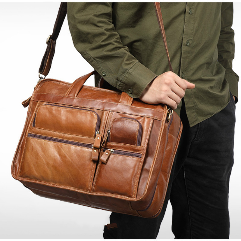 2018 Men Briefcase Real Cow Genuine Leather Business Handbag Laptop Casual Large Travel Shoulder Crossbody Messenger Bags Luxury