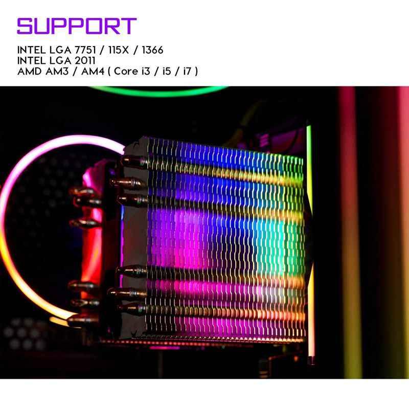 Aigo L6 CPU Kühler 6 Wärme rohre Twin-Turm Kühlkörper 90mm led Fan 4pin CPU Fan Kühlung Für computer LGA775/115x/1366 AM2/AM3/AM4