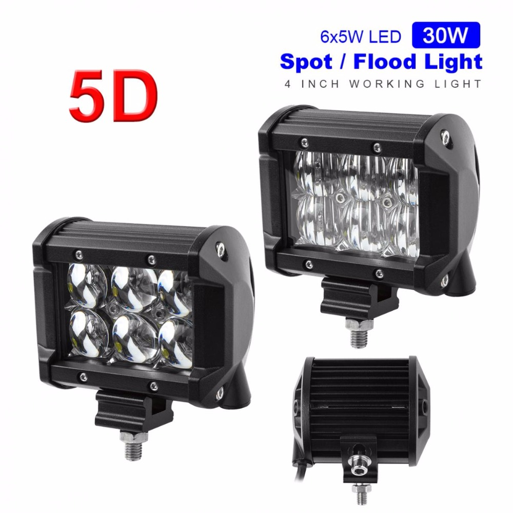 4 Inch 30W 2550LM 5D LED Car Work Light Bar 6000K Auto Driving Lamp Vehicle Headlight for 4WD ATV Off-road SUV image