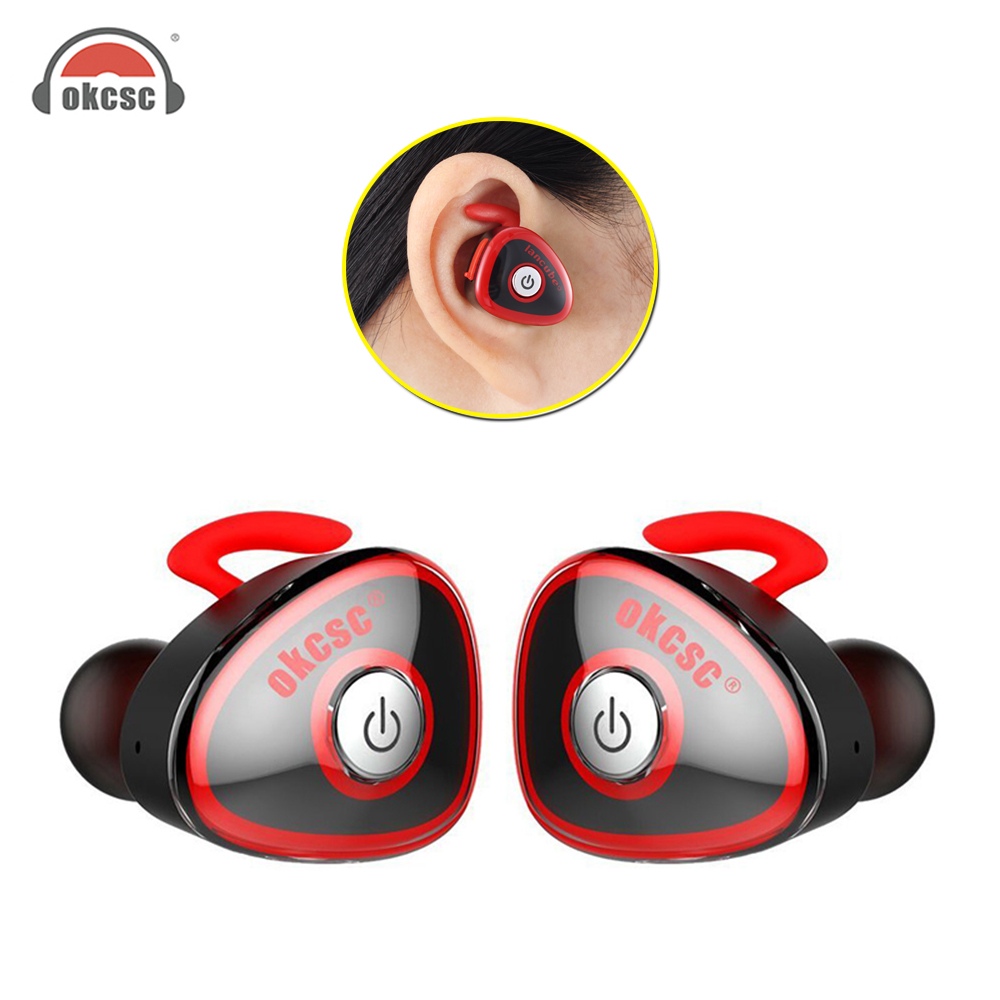 OKCSC HC-S0362 True Wireless Sport Bluetooth Earphone Stereo Twins In Ear Earbuds Sports for IPhone 7 xiaomi With Microphone